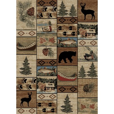 Windsor Lane Mountain Solitude Brown/Beige Area Rug Rug Size: 5 x 8