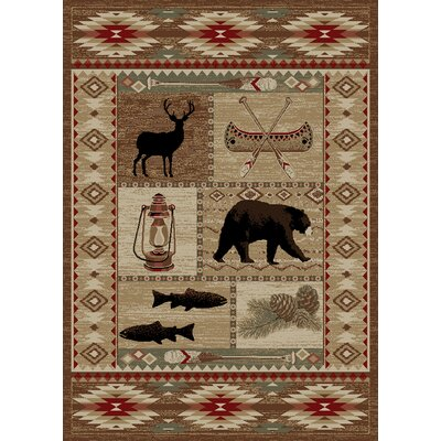 Windsor Lane River Camp Beige/Red Area Rug Rug Size: 5 x 8