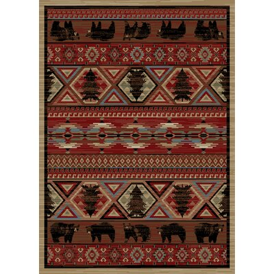 Chateaux Pine Red Area Rug Rug Size: 5 x 8