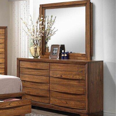 Russet Storage 6 Drawers Dresser with Mirror