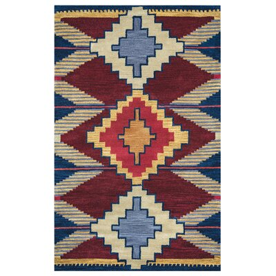 Burge Hand-Tufted Wool Red/Blue Area Rug Rug Size: Rectangle 9 x 12