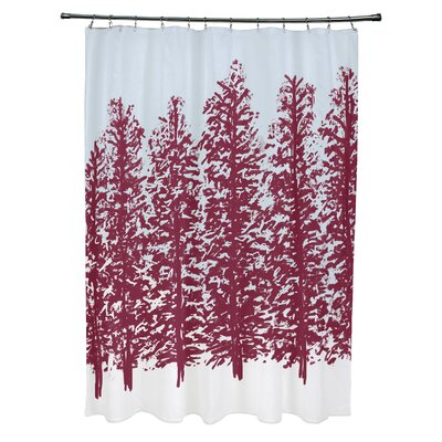 Joulon Hidden Forrest Shower Curtain Color: Red