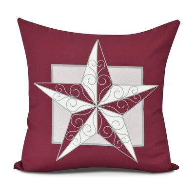 Joulon Night Star Outdoor Throw Pillow Size: 18 H x 18 W, Color: Red