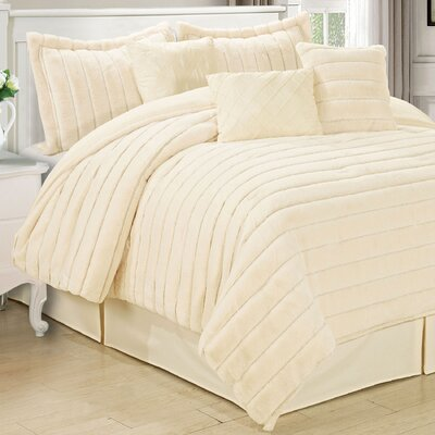 Cirque 7 Piece Comforter Set Color: Antique White, Size: Queen