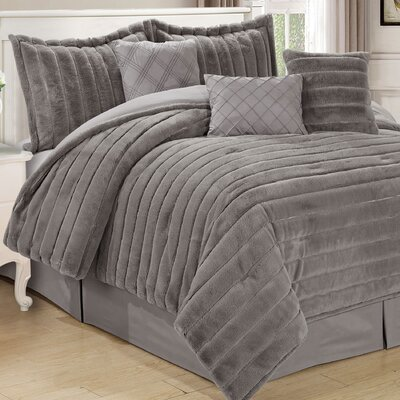 Cirque 7 Piece Comforter Set Color: Silver, Size: King
