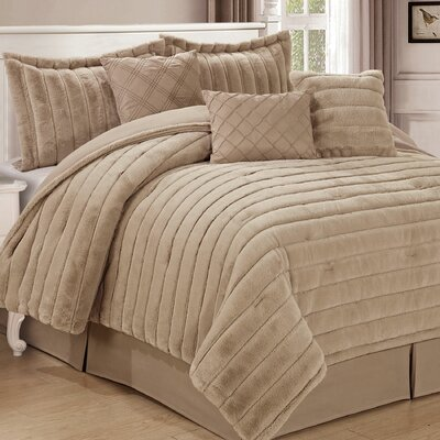 Cirque 7 Piece Comforter Set Color: Oatmeal, Size: King