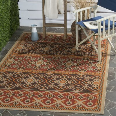 Rangely Red/Chocolate Indoor/Outdoor Area Rug Rug Size: Rectangle 4 x 57
