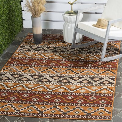 Rangely Red / Chocolate Outdoor Rug Rug Size: Rectangle 4 x 57