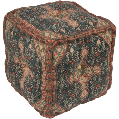 Emmaus Pouf Upholstery: Neutral/Dark Blue