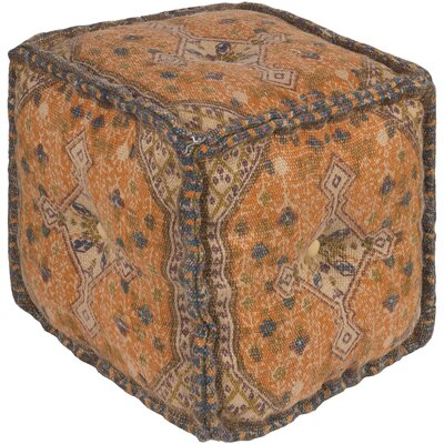 Emmaus Pouf Ottoman Upholstery: Neutral/Orange