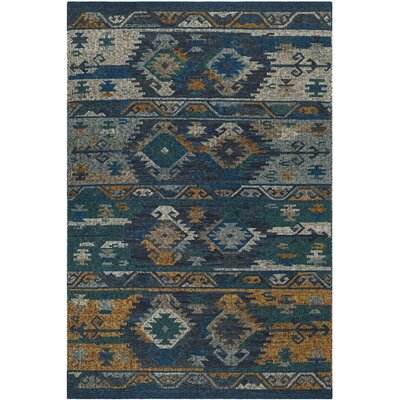 Elan Hand-Woven Blue/Gold Area Rug Rug Size: 6 x 9