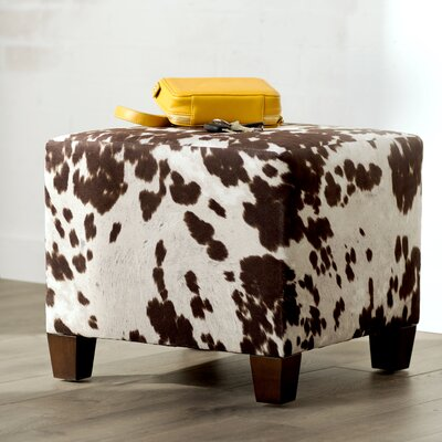 Connie Upholstered Cube Ottoman Color: White / Brown