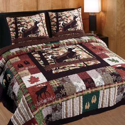 Varsity Whitetail Lodge 3 Piece Quilt Set Size: Full/Queen