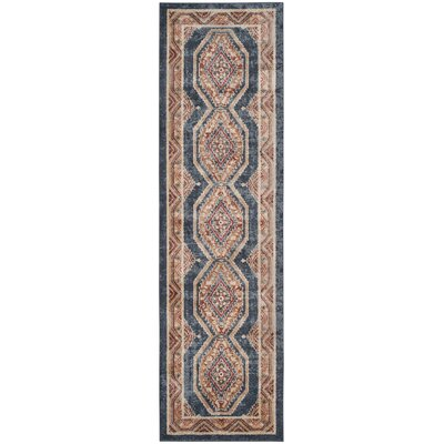Isanotski Royal/Rust Area Rug Rug Size: Runner 23 x 8