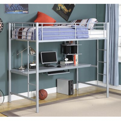 Belfort Twin Loft Bed with Wood Workstation Finish: Silver