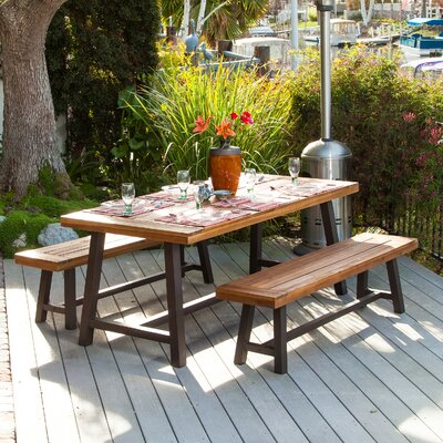 Edison Rustic Metal 3 Piece Dining Set