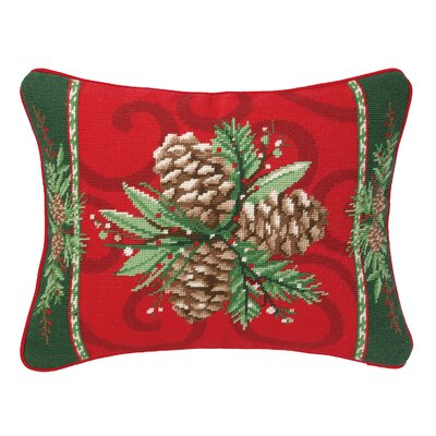 Castlewood Bayberry Pine Needlepoint Lumbar Pillow