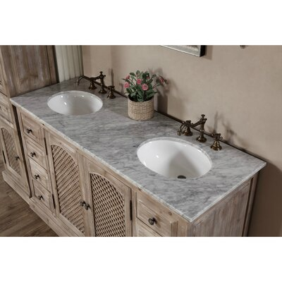 Vice  61 Double Bathroom Vanity Set Top Finish: Carrara White