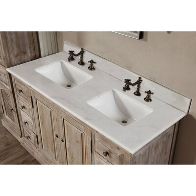 Clemmie 61 Double Bathroom Vanity Set Top Finish: Quartz White