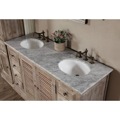 Clemmie 61 Double Bathroom Vanity Set Top Finish: Carrara White
