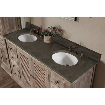 Clemmie 61 Double Bathroom Vanity Set Top Finish: Limestone