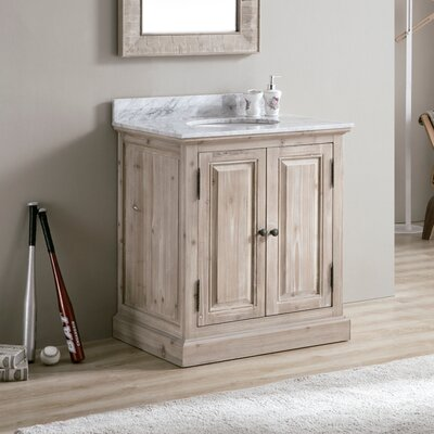 Tifton 30 Single Bathroom Vanity Set Top Finish: White Marble