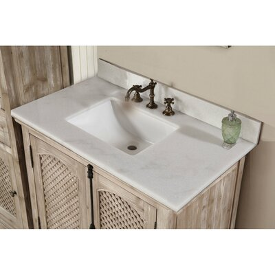 Vice 37 Single Sink Solid Fir Wood Bathroom Vanity Set with Mirror Top Finish: Quartz White
