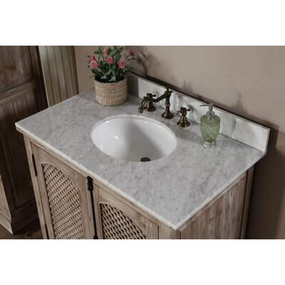 Vice 37 Single Sink Solid Fir Wood Bathroom Vanity Set with Mirror Top Finish: Carrara White