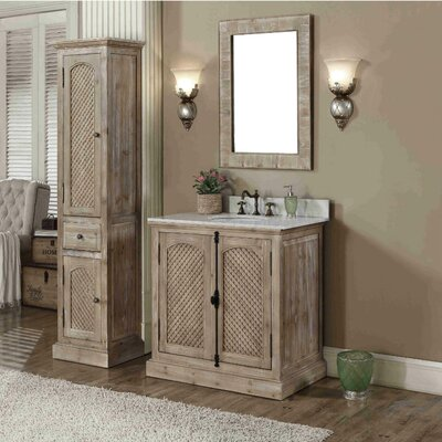 Clemmie 37 Single Bathroom Vanity Set with Linen Tower Finish: Carrara White