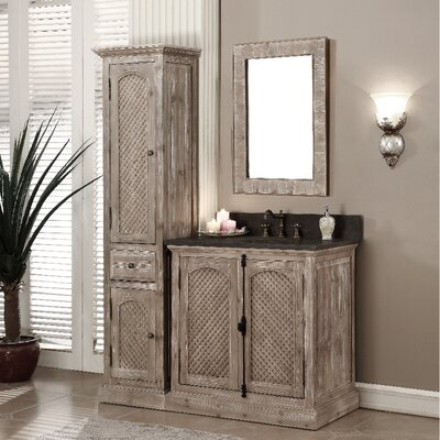 Clemmie 37 Single Bathroom Vanity Set with Linen Tower Finish: Limestone