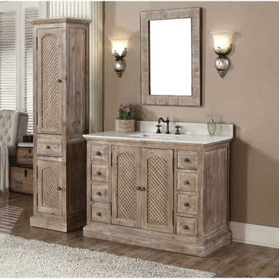 Clemmie 49 Single Bathroom Vanity Set with Linen Tower Finish: Limestone