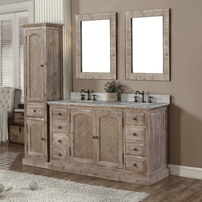 Clemmie 61 Double Bathroom Vanity Set with Linen Tower Finish: Limestone