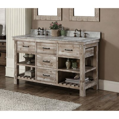 Clemmie 61 Double Bathroom Vanity Set Finish: Limestone
