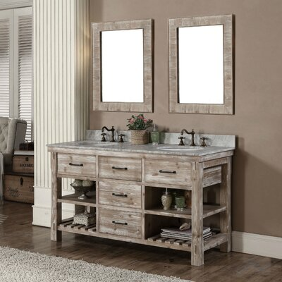 Vice 61 Double Bathroom Vanity Set Finish: Limestone