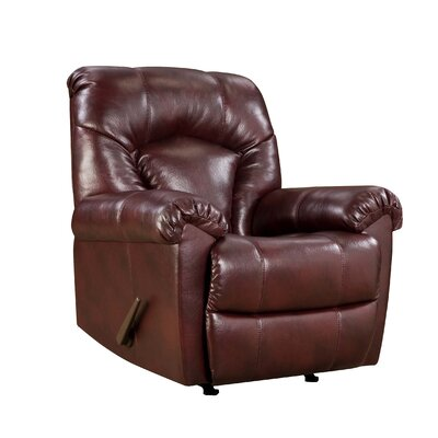 Granby Bonded Leather Rocker Recliner Type: Manual, Upholstery: Wine