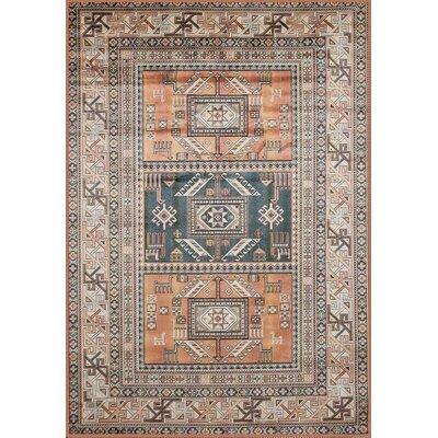Ovid Aqua/Copper/Black/Ivory Area Rug Rug Size: 53 x 76
