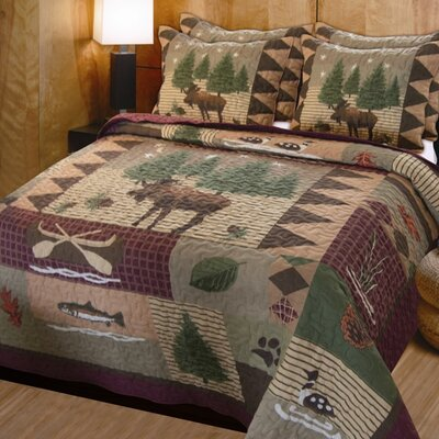 Owego Moose Lodge 3 Piece Reversible Quilt Set Size: King