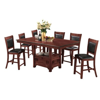 Dor 7 Piece Dining Set Finish: Brown