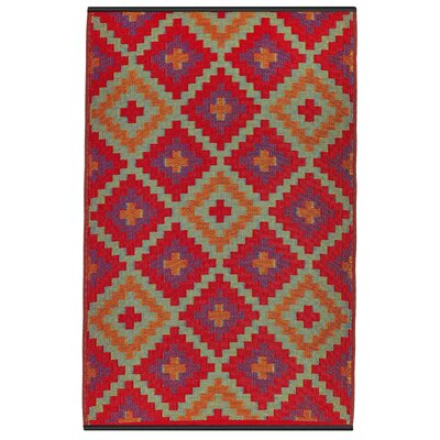 Patterson Hand Woven Red/Purple/Orange Indoor/Outdoor Area Rug Rug Size: 4 x 6