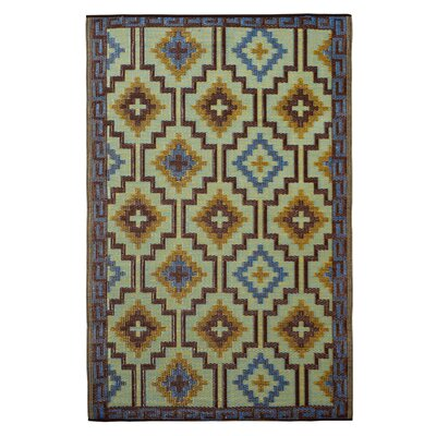 Patterson Royal Blue/Chocolate Brown Indoor/Outdoor Area Rug Rug Size: 4 x 6