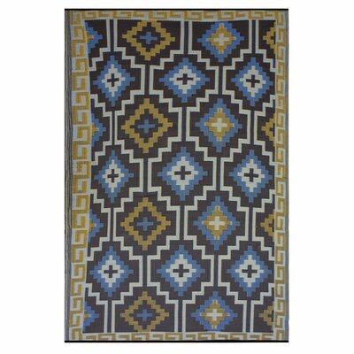 Patterson Royal Blue/Chocolate Brown Indoor/Outdoor Area Rug Rug Size: Rectangle 4 x 6