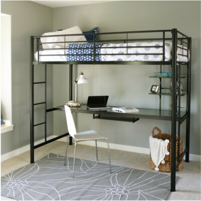 Belfort  Twin Loft Bed and Workstation with Desk and Built-In Ladder