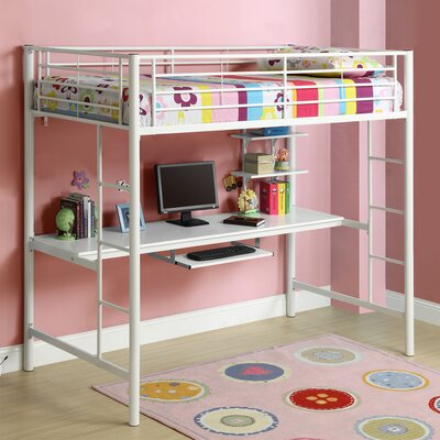 Belfort Twin Loft Bed with Wood Workstation Finish: White