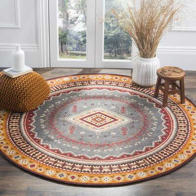 Herblain Red/Yellow Area Rug Rug Size: Round 6