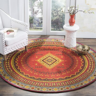 Herblain Red Indoor Area Rug Rug Size: Round 6