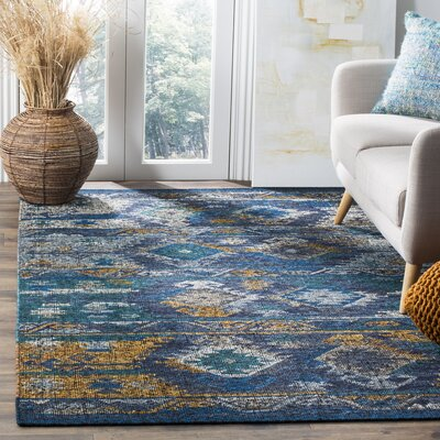 Elan Hand-Woven Blue/Gold Area Rug Rug Size: 5 x 8