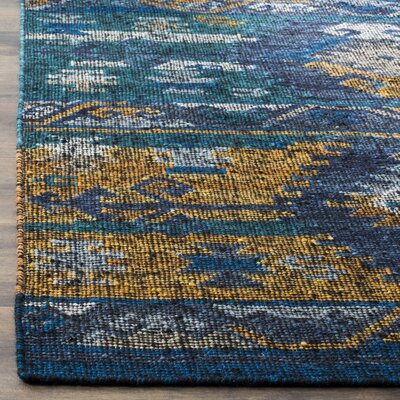Elan Hand-Woven Blue/Gold Area Rug Rug Size: 8 x 10