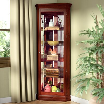 North Palisade Lighted Corner Curio Cabinet Color: Cherry