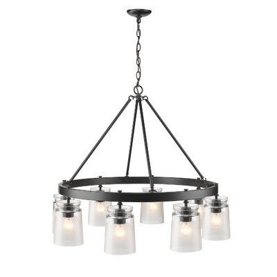 Rock River 6-Light Candle-Style Chandelier Finish: Black, Shade Color: Clear