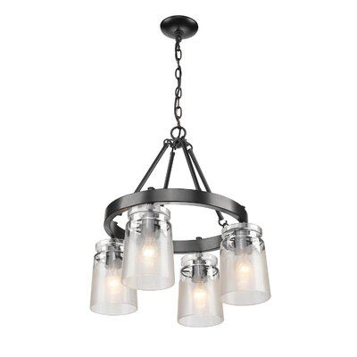 Rock River 4-Light Shaded Chandelier Finish: Black, Shade Color: Clear